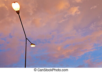 Street light against twilight as background