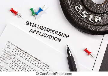 Gym Membership Application - Directly above photograph of a...