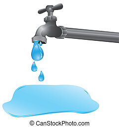 illustration of a tap dripping a puddle on the floor, vector...
