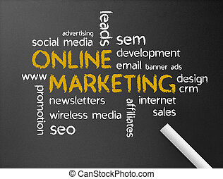 Online Marketing - Dark chalkboard with a Online Marketing...
