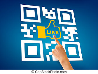 I Like QR Code - Hand pointing at a I Like QR Code...