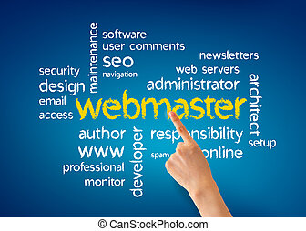 Webmaster - Hand pointing at a webmaster illustration on...