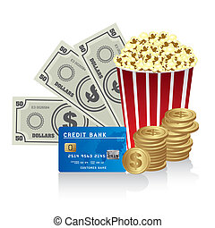 pop corn - Pop corn with credit card, bills and coins,...
