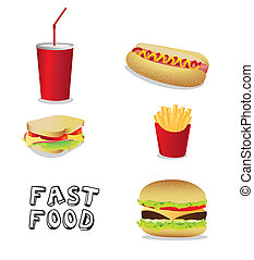 fast food icons isolate on black background, vector...