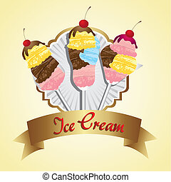 label ice cream in crystal glasses, vector illustration