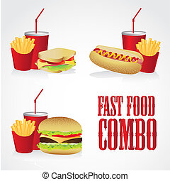 icons of fast food combos, contains hot dog, hamburger and...