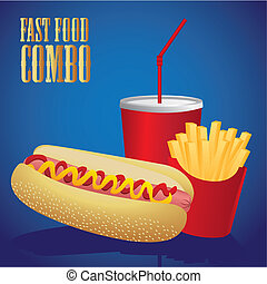 hot dog combo with french fries and soda, on a blue...