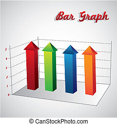 bar graph on the rise on white background, vector...
