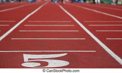 Running track number five with special red cover for racing,...