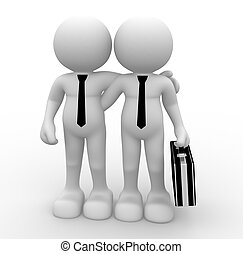 Businessmen - 3d people - men, person with briefcase....