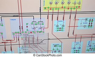 big scheme of electric chains on monitor screen close up