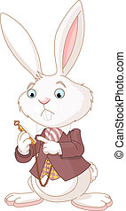 White Rabbit with pocket watch - White Rabbit looking at...