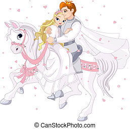 Romantic couple on white horse - Royalty bride and groom on...
