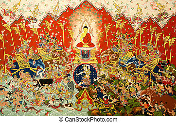 mural painting - mural in native thai style painting on the...