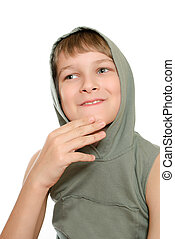 Portrait of a teenager isolated on a white background. Happy youth.