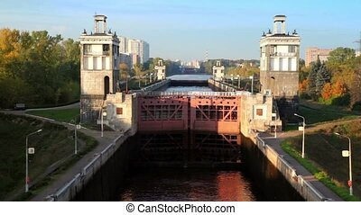 Gate of sluice number 8 Moscow Canal in Moscow, Russia