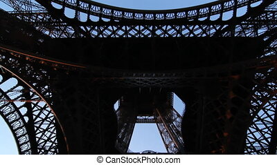 Eiffel Tower Tilt shot - Wideangle handheld tilt shot of the...