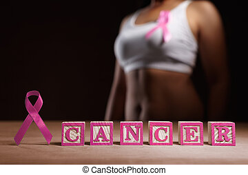 Breast Cancer cause concept - Pink ribbon and pink word...