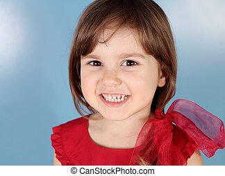 Little Child Smiling Girl Portrait