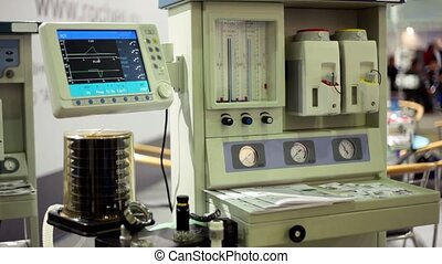 Blood transfusion machine stay working on medical exhibition