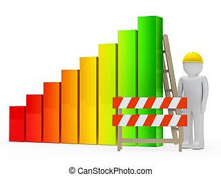 man construction bar graph - man figure with helmet...