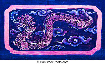 The Painting of naga on wall in the temple.This is traditional and generic style in Thailand. No any trademark or restrict matter in this photo.