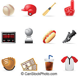 Web Icons - Baseball - Baseball related icons EPS 10 with...