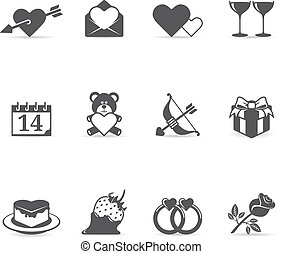Single Color Icons - Love - Valentine related items icon set...