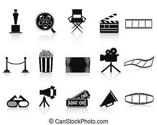black movies icons set - isolated black movies icons set...