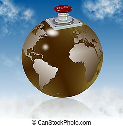reset world - earth globe with a reset button on top of it...