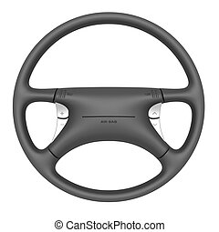 Steering wheel with airbag isolated on white background