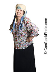 A smiling elderly woman,isolated