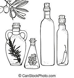 Olive oil bottles - Olive oil glass bottles isolated on a...