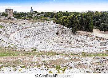 Amphitheater - Syracuse Sicily - The old stone amphitheater...