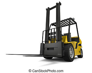 Forklift - 3D illustration of modern yellow forklift truck...