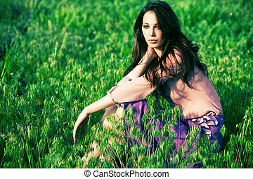 woman in grass