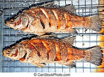 The Fried seabass fish