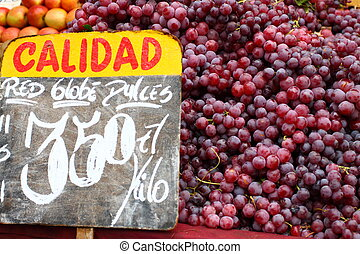 Red grapes at the local market