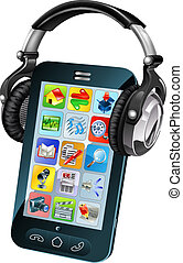 Cell phone wearing headphones - A cell phone wearing large...