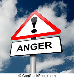 Anger warning. - Illustration depicting a red and white...