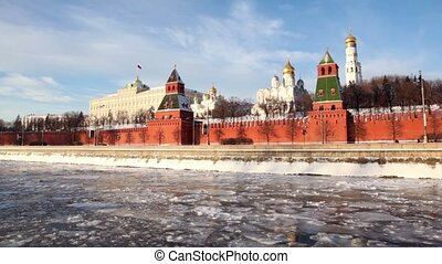 walls of famous Kremlin and Ivan Great Bell Tower at winter...