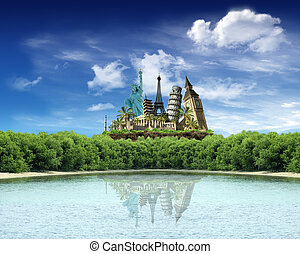 World landmarks over the wood with reflection in the lake...