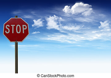 Stop traffic signal with blue sky and clouds in the...