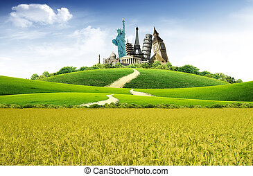 World landmarks in the middle of the field with blue sky and...