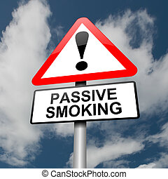 Passive smoking concept - Illustration depicting a red and...