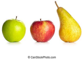 manzanas, pera, aislado, blanco