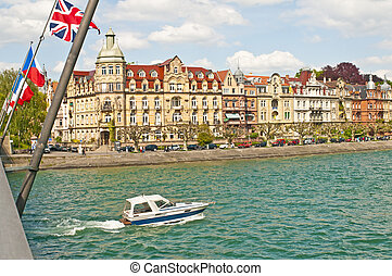 Bodensee, Germany, boat and view to Konstanz