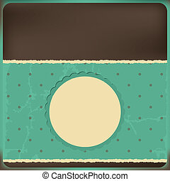 Vector greeting card with frame and polka dots background