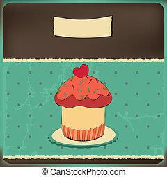 Cute retro cupcake in frame