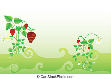 Background with strawberry, vector - Background with...